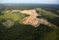 Aerial view of Moscow Raceway during its construction