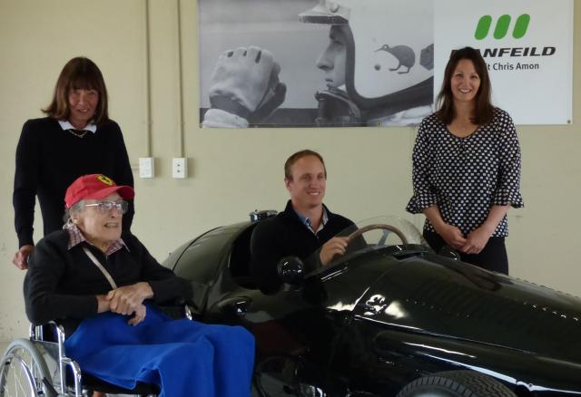 Tish Amon, with Bruce Wilson (in wheelchair), James Amon and Georgie Amon at Manfeild