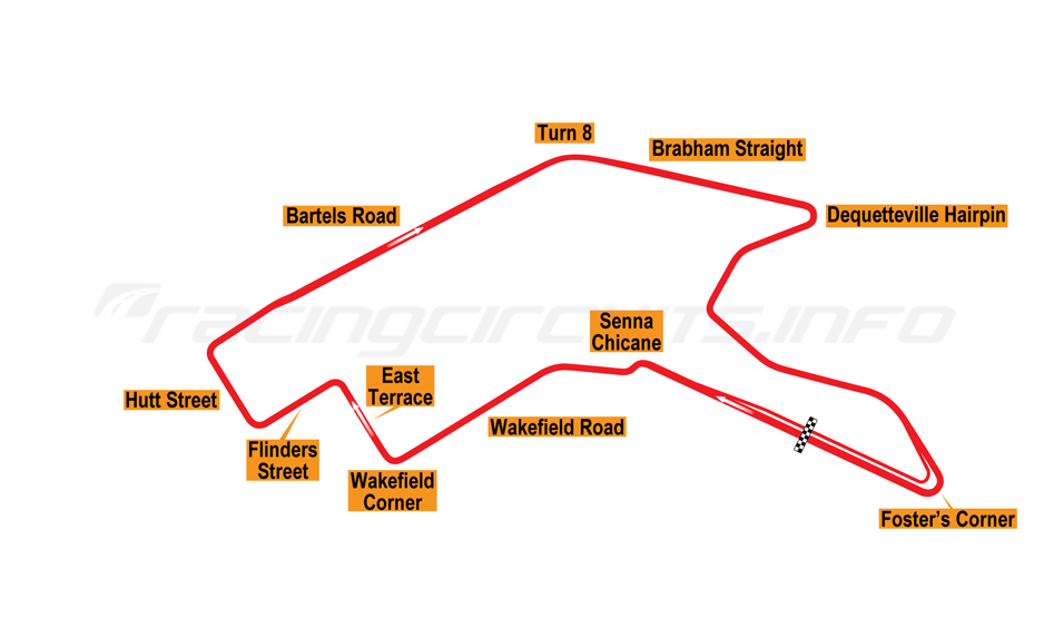 map of adelaide, clipsal 500 circuit 2009 to date