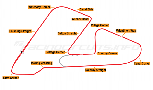 Map of Aintree, Grand Prix Circuit  1955-64