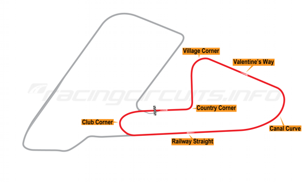 Map of Aintree, Club Circuit  1955-64