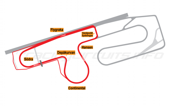 Map of Anderstorp, South Circuit 2007 to date