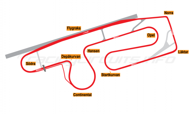 Map of Anderstorp, Grand Prix Circuit 1993-97