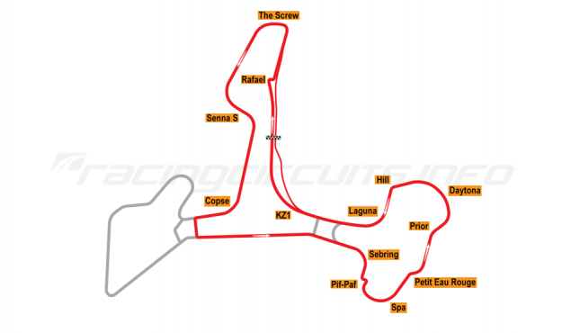 Map of Ascari Race Resort, Circuit 1+3 2002 to date