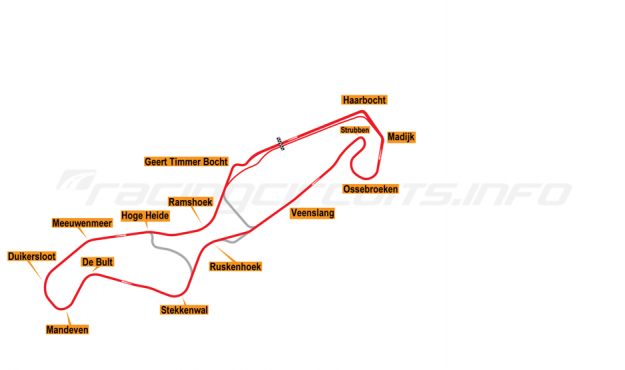 Map of TT Circuit Assen, Grand Prix Motorcycle Course 2010 to date