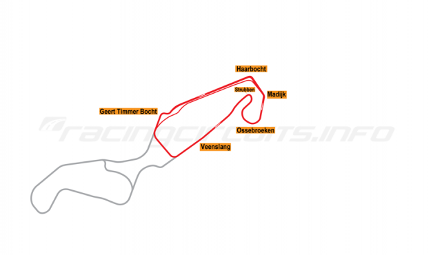 Map of TT Circuit Assen, North Course 2006-2009