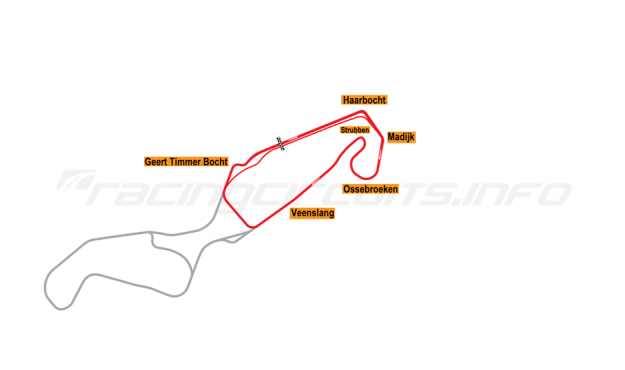 Map of TT Circuit Assen, North Course 2010 to date
