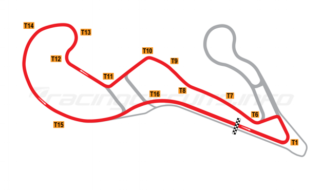 Map of Atlanta Motorsports Park, Variation 3 circuit 2013 to date