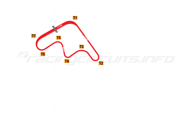 Map of Mine Circuit, Clockwise Atsu Circuit (opening race only) 1973