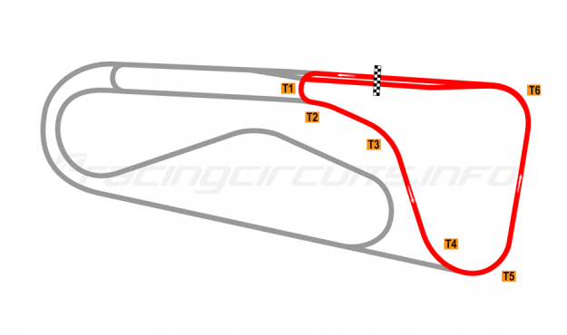 Map of Autódromo Ricardo Mejía, Club Circuit (anti-clockwise) 1971-80