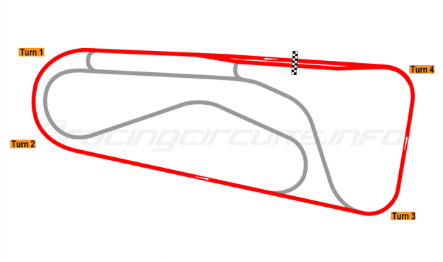 Map of Autódromo Ricardo Mejía, Oval Circuit (anti-clockwise) 1971-80