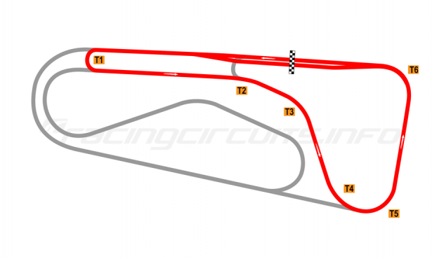 Map of Autódromo Ricardo Mejía, Short Circuit (anti-clockwise) 1971-80