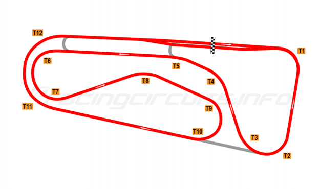 Map of Autódromo Ricardo Mejía, Grand Prix Circuit 1971-80