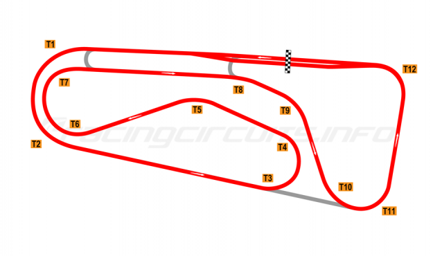 Map of Autódromo Ricardo Mejía, Grand Prix Circuit (anti-clockwise) 1971-80