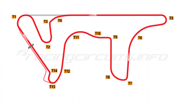 Map of Termas de Río Hondo, Grand Prix Circuit 2013 to date
