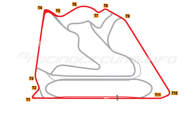 Map of Bahrain International Circuit, Outer Circuit 2004 to date