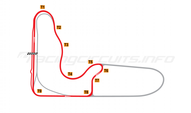 Map of Barbagallo Raceway Wanneroo, Short circuit 2012 to date
