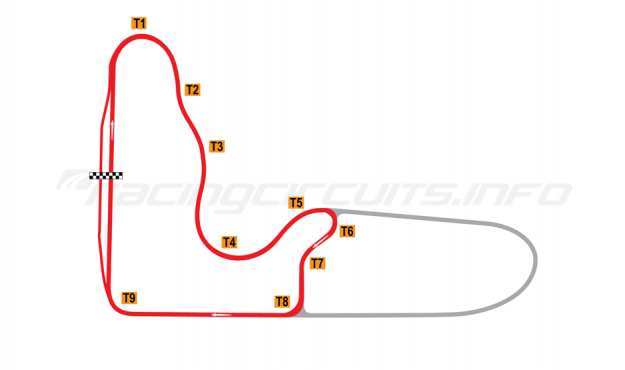 Map of Barbagallo Raceway Wanneroo, Short circuit 1992-2001
