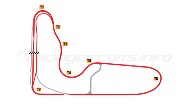 Map of Barbagallo Raceway Wanneroo, V8 Supercar circuit 2012-18