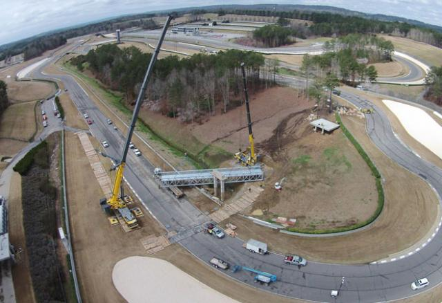 A drone cam view of the new bridge being installed at Barber Motorsports Park.