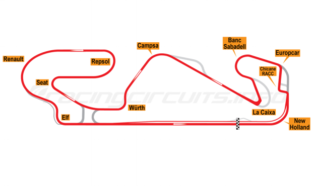 Map of Circuit de Barcelona-Catalunya, Grand Prix Circuit 2019-20
