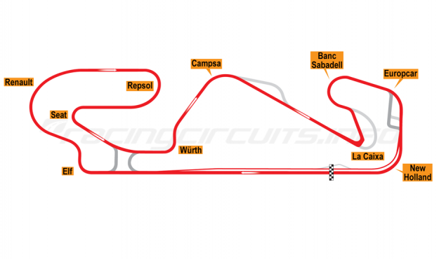 Map of Circuit de Barcelona-Catalunya, Motorcycle Grand Prix Circuit 2018