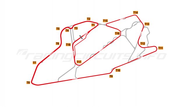 Map of Bedford Autodrome, GT Circuit 1999-2002