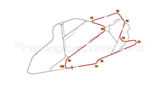 Map of Bedford Autodrome, SEN Circuit 1999-2002