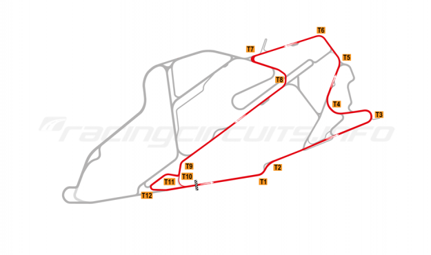 Map of Bedford Autodrome, SEN Circuit 2008-14