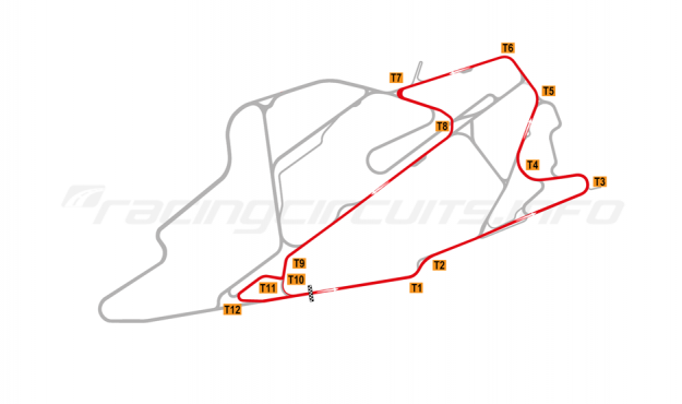 Map of Bedford Autodrome, SEN Circuit 2015 to date