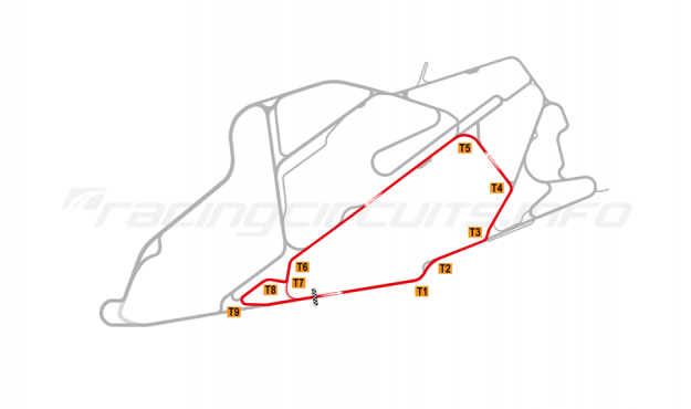Map of Bedford Autodrome, South Circuit 2008-14