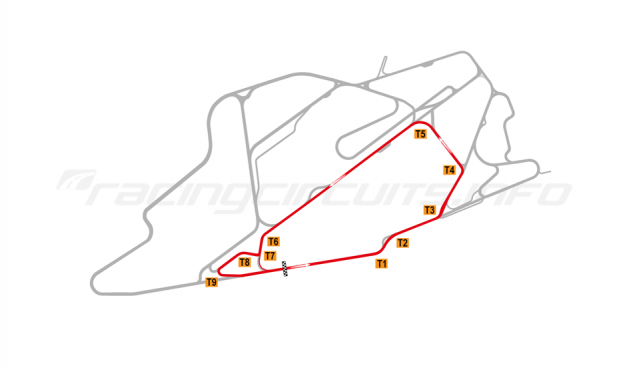 Map of Bedford Autodrome, South Circuit 2015 to date