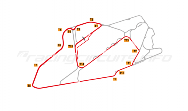 Map of Bedford Autodrome, South West Circuit 1999-2002