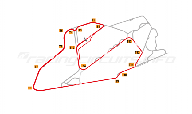 Map of Bedford Autodrome, South West Circuit 2003