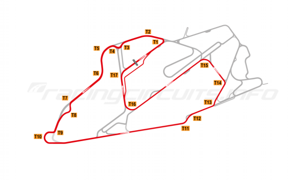 Map of Bedford Autodrome, South West Circuit 2008-14