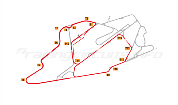 Map of Bedford Autodrome, South West Circuit 2015 to date