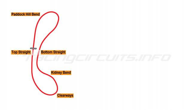Map of Brands Hatch, Brands Hatch Circuit 1950-53