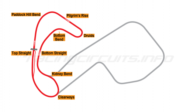 Map of Brands Hatch, Club Circuit 1960-75
