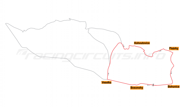 Map of Brno, Grand Prix Circuit 1964-75
