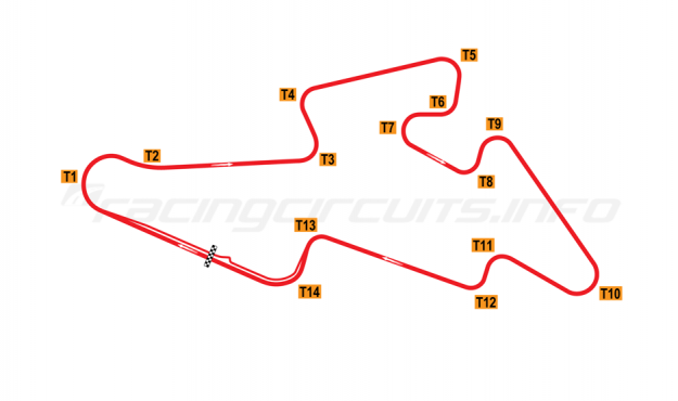 Map of Brno, Grand Prix Circuit 1987-1995