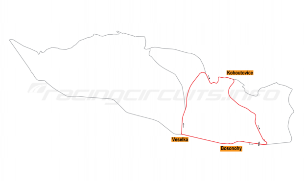 Map of Brno, Motorcycle Grand Prix Circuit 1975-86