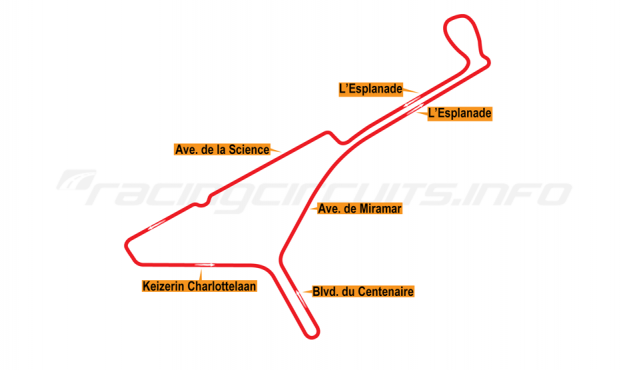 Map of Brussels, ePrix Circuit (not developed) 2016 proposal
