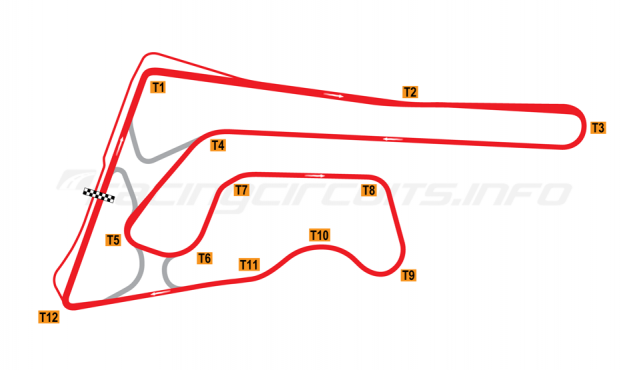 Map of Buriram United International Circuit, Full Circuit 2014-16