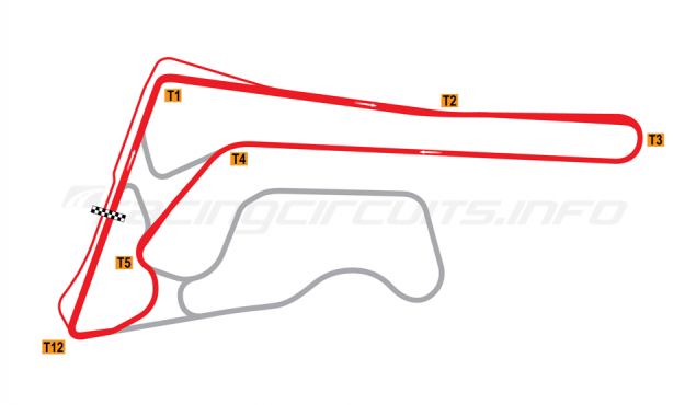 Map of Buriram United International Circuit, D Circuit 2014-16