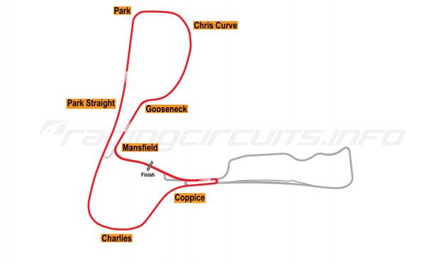 Map of Cadwell Park, Club Circuit 2006 to date