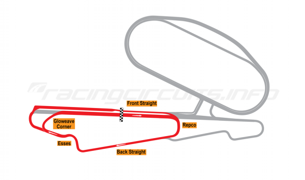 Map of Calder Park, Club Circuit 1987 to date