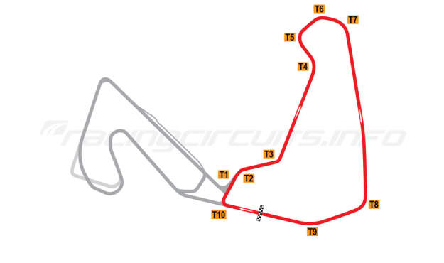 Map of Carolina Motorsports Park, East circuit 2008 to date