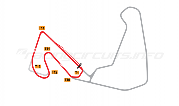 Map of Carolina Motorsports Park, West circuit 2008 to date