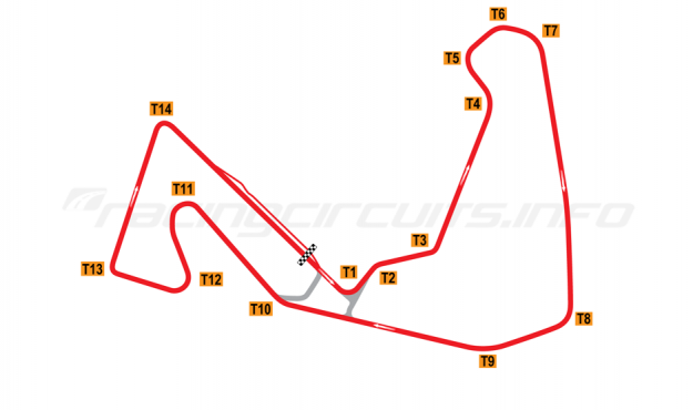 Map of Carolina Motorsports Park, Full circuit 1999-2007