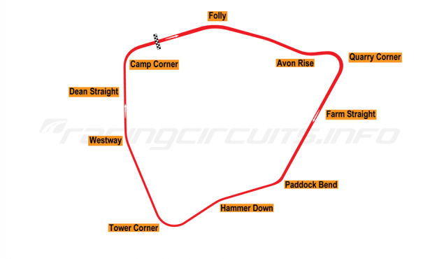Map of Castle Combe, Full circuit 1950-98